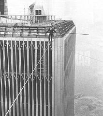 Philippe Petit wirewalking the world trade center